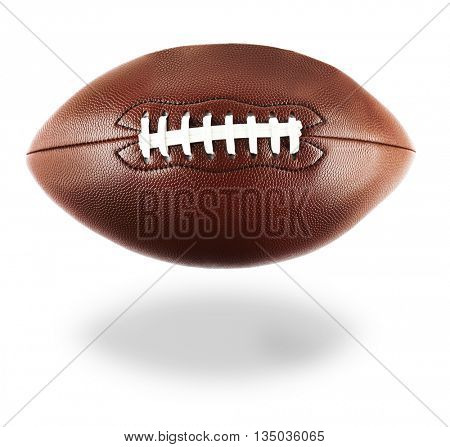 American football with shadow, isolated on white background