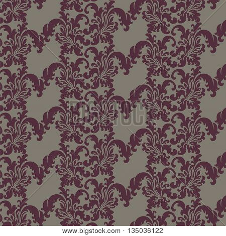 Classic style floral ornament pattern in red color. Vector