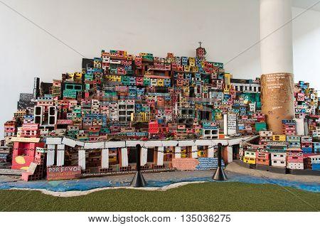 Rio de Janeiro, Brazil - June 1, 2016: Miniature depiction of a colorful favela community, part of the Projecto Morrinho social project.