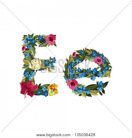 E letter. Flower capital alphabet. Colorful font. Uppercase and lowercase. Vector illustration. Grotesque style. Floral alphabet.