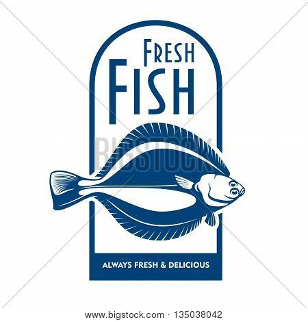 Fresh from the boat seafood icon for fish market label or waterfront cafe badge design usage with blue and white symbol of winter flounder fish
