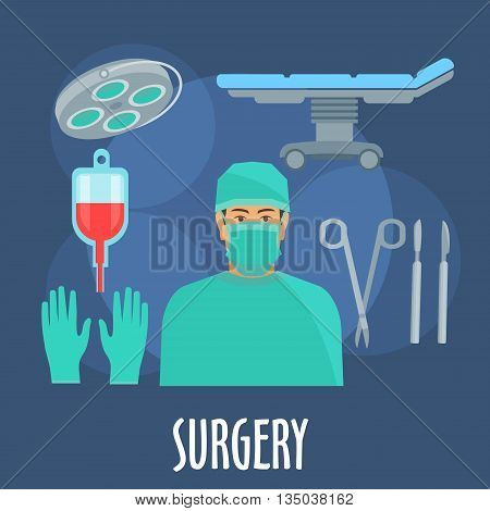 Surgeon in scrub, cap and mask in operating room symbol with flat icons of operating table and lamp, blood bag, scalpels, forceps and gloves. Medical professions design usage