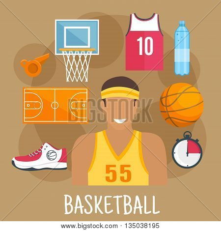 Basketball game symbol for ball sports theme design with guard player in yellow shirt and headband, ball, court and backboard with basket, red jersey, shoe, whistle and stopwatch