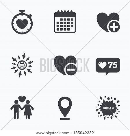 Calendar, like counter and go to web icons. Valentine day love icons. Love heart timer symbol. Couple lovers sign. Add new love relationship. Location pointer.