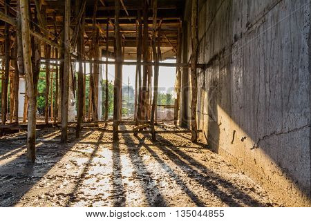Image shows a home under construction at the roofing phase. Ideal for roofing advertising and other home construction promotional inferences