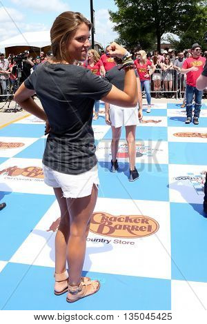 ARLINGTON, TX - APR 18: Lauren Akins at the Cracker Barrel Old Country Store Country Checkers Challenge at Globe Life Park in Arlington on April 18, 2015 in Arlington, Texas.