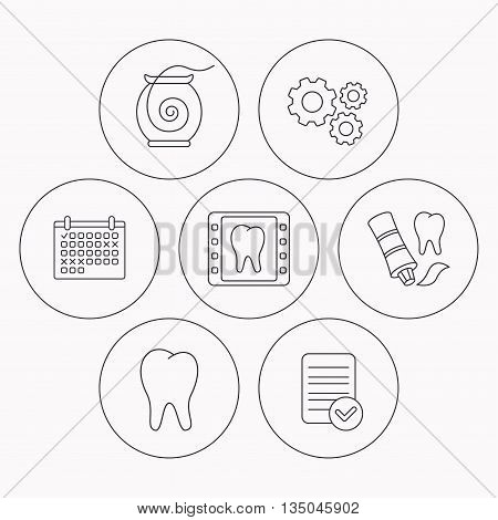 Dental floss, tooth and toothpaste icons. Dental X-ray linear sign. Check file, calendar and cogwheel icons. Vector