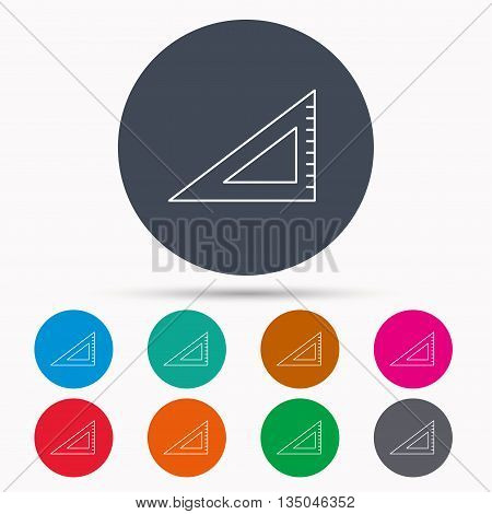 Triangular ruler icon. Straightedge sign. Geometric symbol. Icons in colour circle buttons. Vector