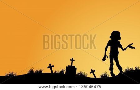 Zombie in tomb halloween backgrounds silhouette illustration