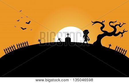Zombie and bat halloween backgrounds silhouette illustration