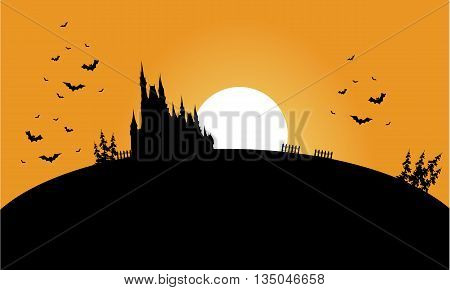 Silhouette of castle and bat halloween at the sunrise