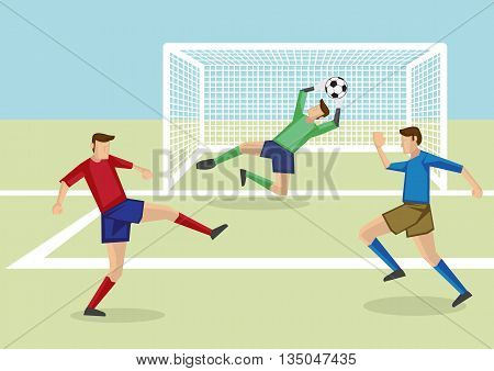 Vector cartoon illustration of goalkeeper leaping to catch soccer ball in hand together with two soccer players from opposite teams in soccer field.