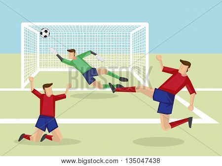 Exciting scene of attacker kicking soccer ball into the net to score victory and goalkeeper fail to save the goal. Vector cartoon illustration of association football sport in action.