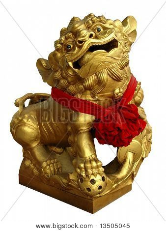 Golden Chinese lion statue