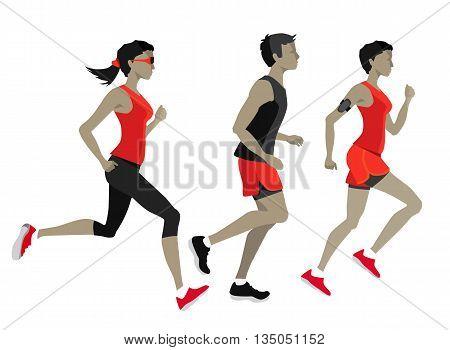 Running marathon, Running people characters. Women man sport