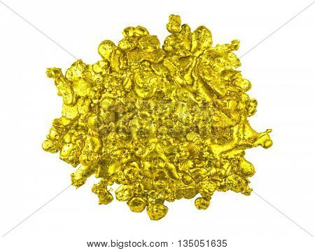 Real golden nugget isolated on white background.