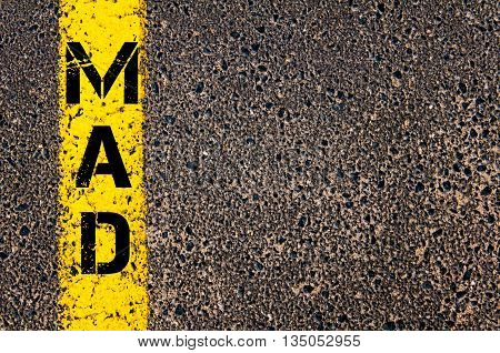 MAD Three Letters Code of Madrid Barajas International Airport Spain written over tarmac road marking yellow paint line poster