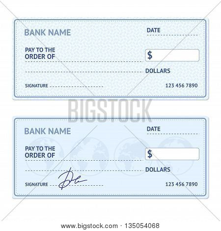 Bank Check Template Set with Modern Design Isolated on White Background. Vector illustration