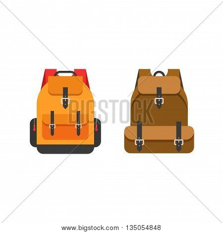 Backpacks vector illustration isolated on white background, flat color school orange backpack and mountain brown backpack