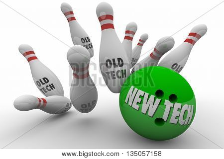 New Tech Vs Beats Old Technology Bowling Ball Strike 3d Illustration