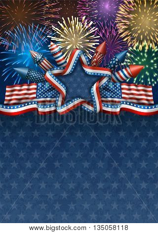 Patriotic american background for fourth of july with american flags and star with rockets and fireworks EPS 10 contains transparency.