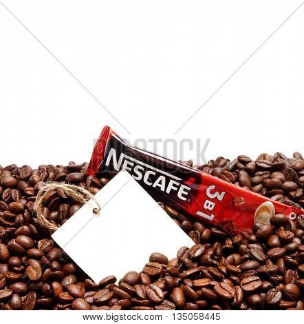 Kiev, Ukraine - June 15, 2016: Nescafe is a brand multinational food and beverage company, first introduced on April 1, 1938.