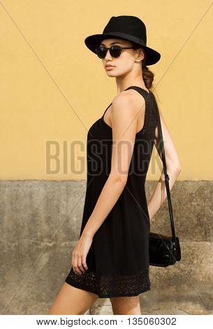 Stylish Fashionable Brunette Beauty Outdoors.