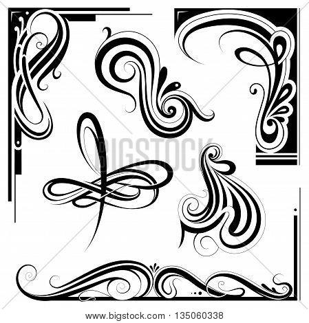 Decorative elements and vintage frame set in art nouveau style