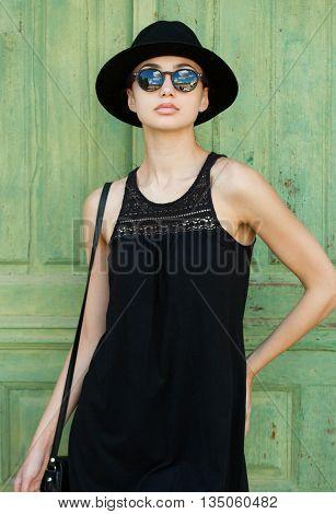 Brunette Summer Fashion Beauty Outdoors.