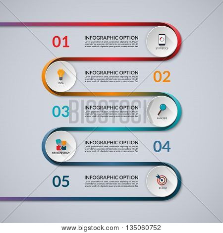 Infographic banner with 5 options, steps, parts. Vector template with curved colorful ribbon. Can be used for workflow layout, diagram, chart, report, timeline infographics, web design.