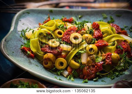 Pasta Tomato Sauce Capers Asparagus Magic Light