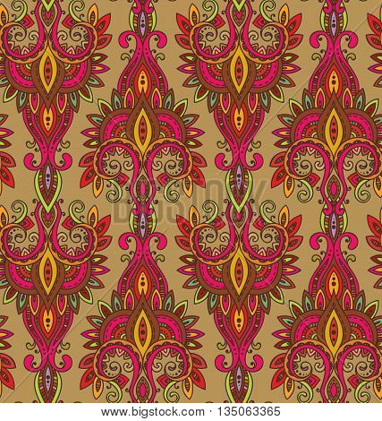 Vector seamless pattern with hand drawn asian paisley ornament.  Amulet with ethnic design.  Colorful beautiful endless background.
