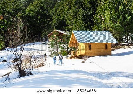 Bansko, Bulgaria - February 23, 2016: Winter eco tourism background with wooden alpine chalet, snow, green pine trees, tourists