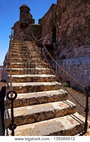 Step Arrecife  Drawbridge  Lanzarote  Spain The Old Wall Castle  Sentry