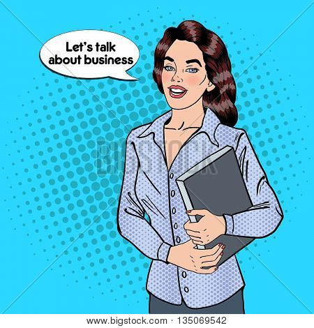 Confident Business Woman with Documents. Pop Art. Vector illustration