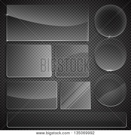 set of transparent glass on sample background. Glass framework set. Glass square, rectangular and round buttons on checkered background. Vector illustration.