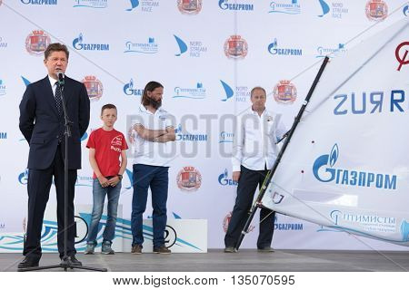 ST. PETERSBURG, RUSSIA - JUNE 4, 2016: Chairman of the Management Committee of Gazprom Alexey Miller (left) during the award ceremony of the children competition Optimists Of Northern Capital