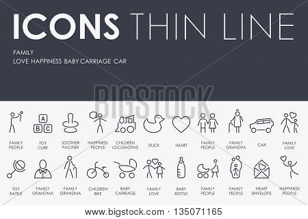 Thin Stroke Line Icons of family on White Background