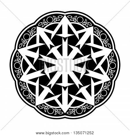 Black Wiccan Circular Ornament, Vector Illustration on white