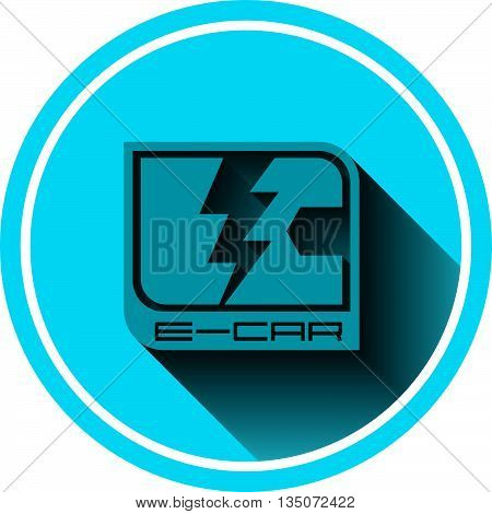 E-car logo flat eco car color,  concept