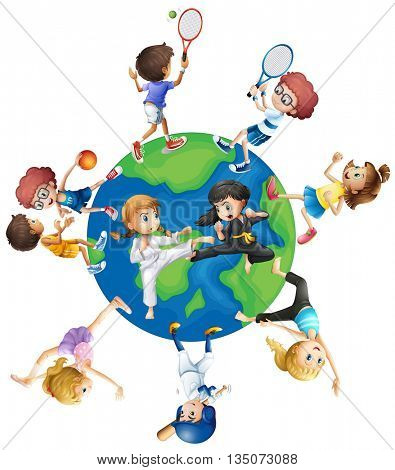 Different kind of sports around the world illustration