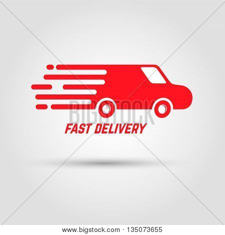 Fast delivery icon. Illustration of very fast riding car. Design element for logo label emblem sign. Vector design element