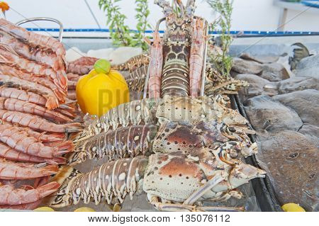 Collection Of Seafood On Display In A Restaurant