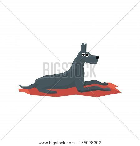 Great Dane Dog Bright Color Simplified Geometric Style Flat Vector Illustrations On White Background