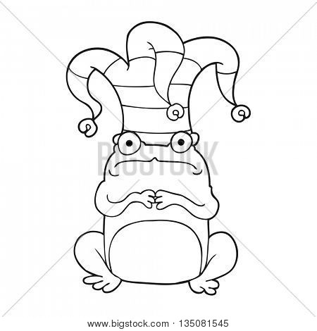 freehand drawn black and white cartoon frog wearing jester hat
