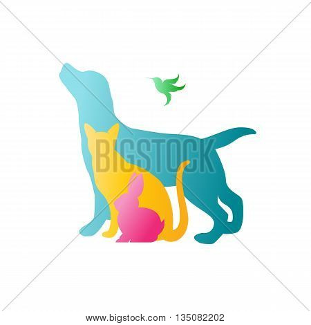 Vector group of pets - Dog cat rabbit humming bird isolated on white background. / Vector pets for your design.
