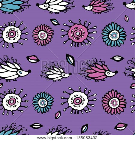 seamless cartoon pattern with flowers and . stock vector