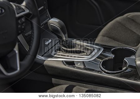 Wroclaw, Poland, May 28, 2016: Close Up On Ford C-max Gear Box On Motoshow On May 28, 2016 In Poland