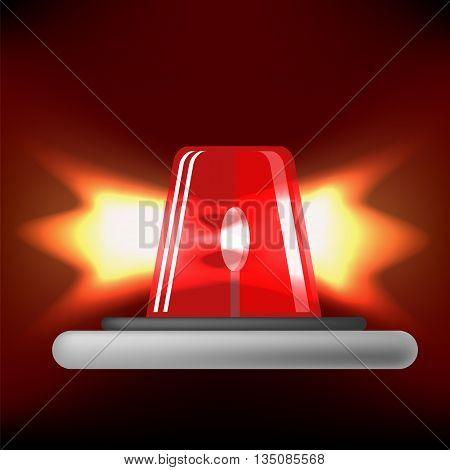 Siren Icon Isolated on Black Background. Red Emergency Flash. Car Alarm Symbol