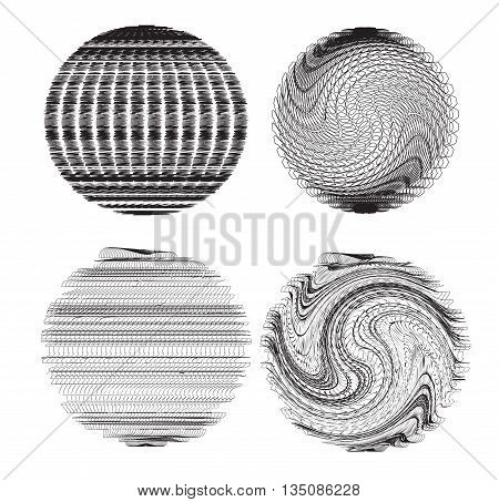 Set of abstract fractal spheres. Vector element for your creativity